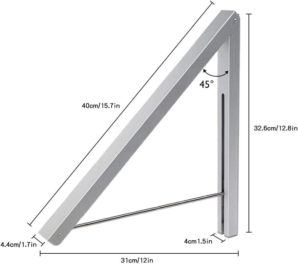 Ba/ño Oficina Balc/ón para Sala Cuarto Ahorra Espacio Aluminio Ropa Percha Plegable Ropa Organizador Ahorrar Espacio LIVEHITOP Plegable Perchero de Pared