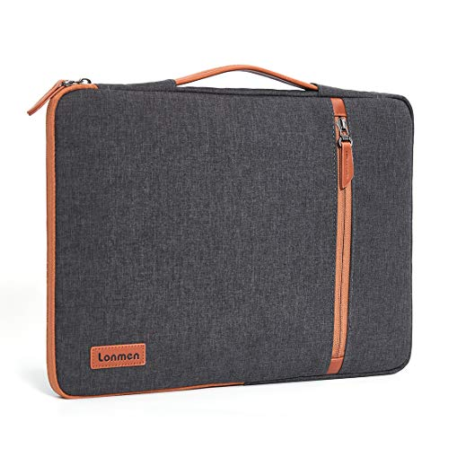 """LONMEN 10.1 Inch Laptop Sleeve Case Tablet Bag Water-resistant Handbag Carrying Compatible with 10.5"""" iPad Pro/9.7"""" iPad Air 2/10"""" Surface Go/Samsung Galaxy Tab S2 S3 S4/10.1"""" Lenovo Yoga Tab 3, Brown"""