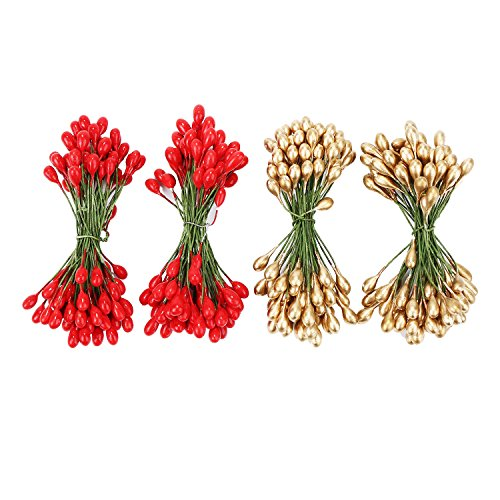 Shappy 400 Pieces Elliptical Artificial Holly Berries on Wire for Christmas Decoration and Floral Arrangement, Red and Gold (Wired Stems)