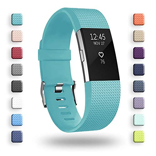 POY Replacement Bands Compatible for Fitbit Charge 2, Classic & Special Edition Sport Wristbands, Large Cyan, 1PC