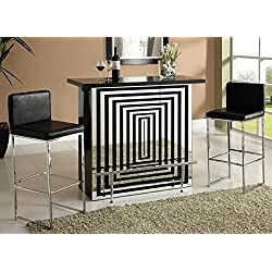 Zak collection black high gloss and mirror finish front bar table with glass top and chrome accents and footrest