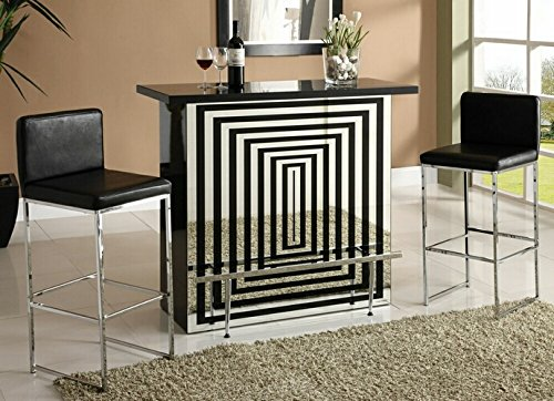 - Zak collection black high gloss and mirror finish front bar table with glass top and chrome accents and footrest