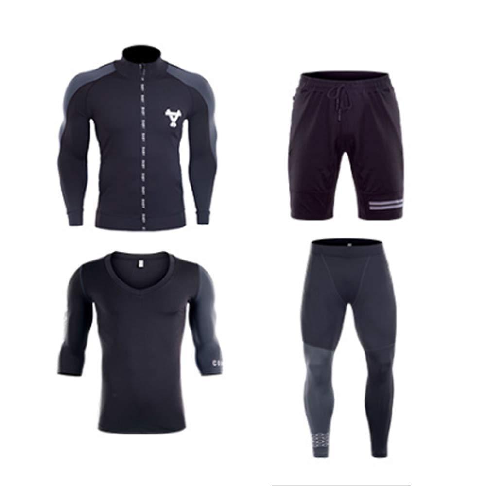 QJKai Sportanzug für Männer langärmelige, schnell trocknende Fitness-Bekleidung für den Außenbereich Sportswear aus Vier Teilen
