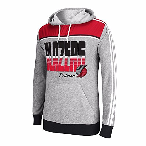 Portland Trail Blazers NBA Adidas Men's Gray Fleece Hoodie (M) (Mens Nba Fleece Trailblazers Adidas)