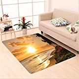 Nalahome Custom carpet corations Warm Tropical Sunset On Sands Of Kaanapali Beach in Maui Hawaii Destination For Travel area rugs for Living Dining Room Bedroom Hallway Office Carpet (5' X 8')