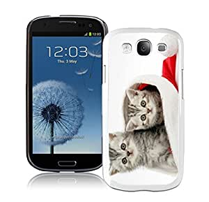 Fantastic Design Cats In Red Christmas Hat White TPU Samsung Galaxy S3 Case,Case For Samsung I9300