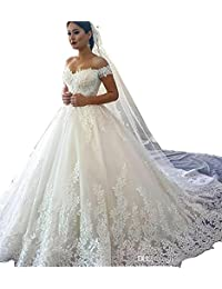 Yilian Women's Lace Wedding Dresses for Bride 2018 Ball Gowns White