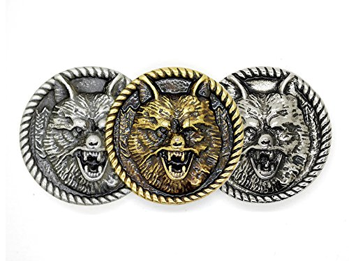 CRAFTMEmore Wolf Head Screw Back Conchos Gaur Rodeo Indian Cowboy Animal Leathercraft Decor Embellishment 1 3/8 Inches 2PCS (Matte Silver) ()