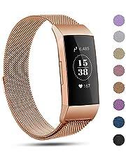 Pour Fitbit Charge 3 Bracelet,eDriveTech pour Fitbit Charge 3 bandes de remplacement magnétique de luxe en métal de Sport Bande accessoires pour Fitbit Charge 3 femmes hommes de poignet étanches