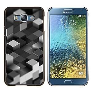 Caucho caso de Shell duro de la cubierta de accesorios de protección BY RAYDREAMMM - Samsung Galaxy E7 E700 - Bloques grises