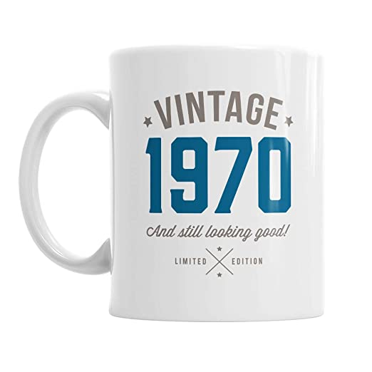 Taza de café de recuerdo de 50 cumpleaños para hombre, color azul