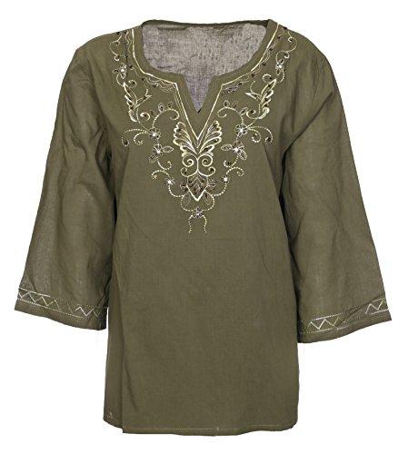 Lets Shop Shop - Camisas - Túnica - Cuello redondo - para mujer Verde De Color Caqui