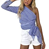 Hot Sale! Women s Off Shoulder Tops,Jushye Summer Long Sleeve Pullover Casual Striped Shirt (L, Blue)
