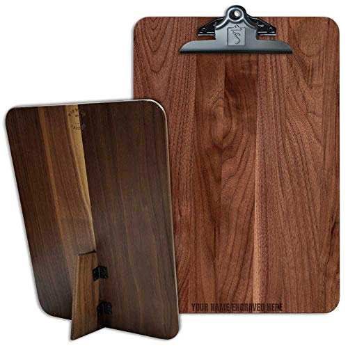 (Personalized Standing Hinged Clipboard Black Walnut 9.5