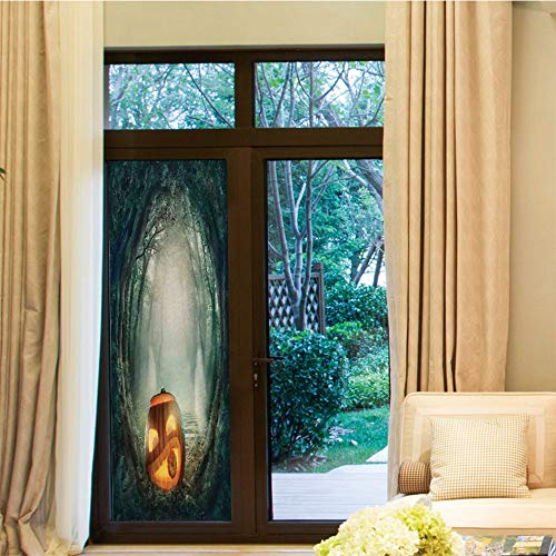 YOLIYANA Decorative Window Film,Halloween Decorations,for Bedroom Living Room Kitchen,Scary Halloween Pumpkin Enchanted Forest Mystic Twilight Party,24''x70''