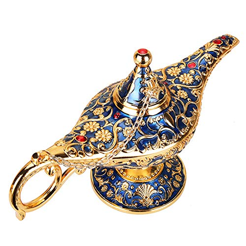 - Wispun Aladdin Magic Genie Lamps - Vintage Incense Burners Magic Genie Light Lamp for Home Table Decoration/Party/Halloween/Birthday (Gold-Blue)