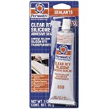 Permatex 80050-12PK Clear RTV Silicone Adhesive Sealant, 3 oz. (Pack of 12)