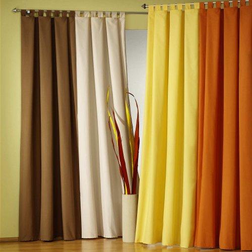 Gardinen Vorhang BLICKDICHT, moderner Schlaufenschal mit Kräuselband, Farbe CREME HxB 175 x 140 cm, Microfaser
