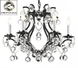 BLACK WROUGHT IRON CRYSTAL CHANDELIER LIGHTING H 19″ W 20″ DRESSED WITH FENG SHUI 40MM CRYSTAL BALLS! – Great for Bedroom, Kitchen, Dining Room, Living Room, and More! For Sale
