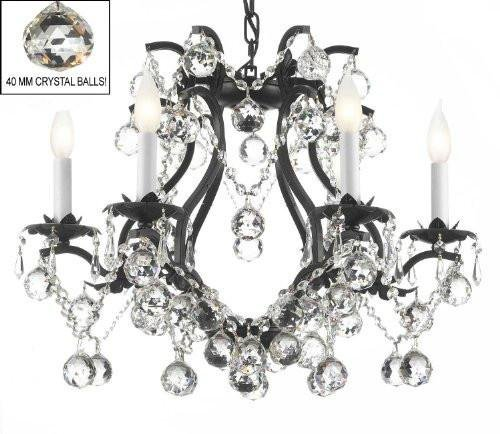 (BLACK WROUGHT IRON CRYSTAL CHANDELIER LIGHTING H 19