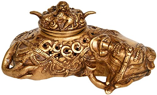 Tibetan-Buddhist-Elephant-Incense-Burner-Brass-Statue