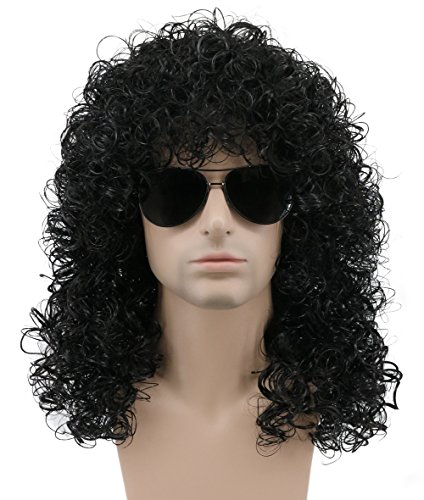 (Karlery Mens Long Curly Black Hard 80s Rocker Wig Themed Party Wig Halloween Costume Anime)