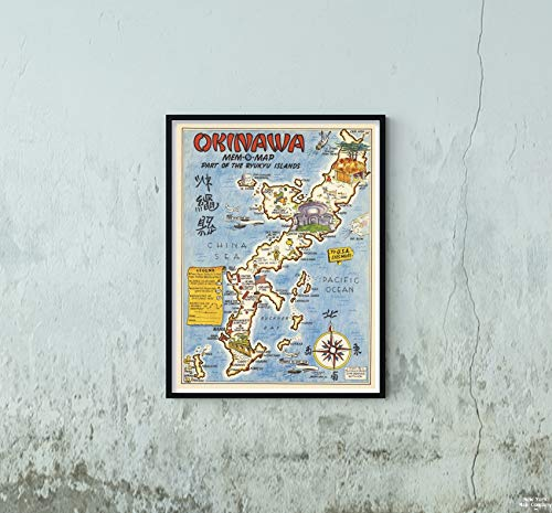 Pictorial Map - 1945 Pictorial Map|Okinawa Mem-O- Part of The Ryukyu Islands|Historic Antique Vintage Reprint|Size: 18x24|Ready to Frame