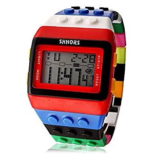 Unisex Regenbogen Lego Digital-Armbanduhr