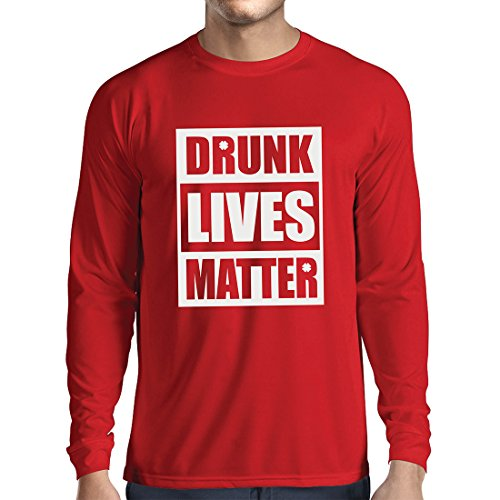 (Long Sleeve t Shirt Men Drunk Lives Matter Funny Saint Patricks Shirts, St Patty's Day Clothing (Medium Red Multi Color))