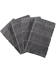 DII 100% Cotton Ultra-Absorbent Cleaning Drying Luxury Kitchen Chevron Bar Mop Dish Towels for Everyday Home Basic 16 x 19 Set of4- Gray