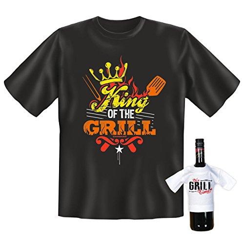 T-Shirt - King of the Grill - lustiges Sprüche Shirt für Grill Fans mit Humor - Geschenk Set mit Funshirt und Minishirt
