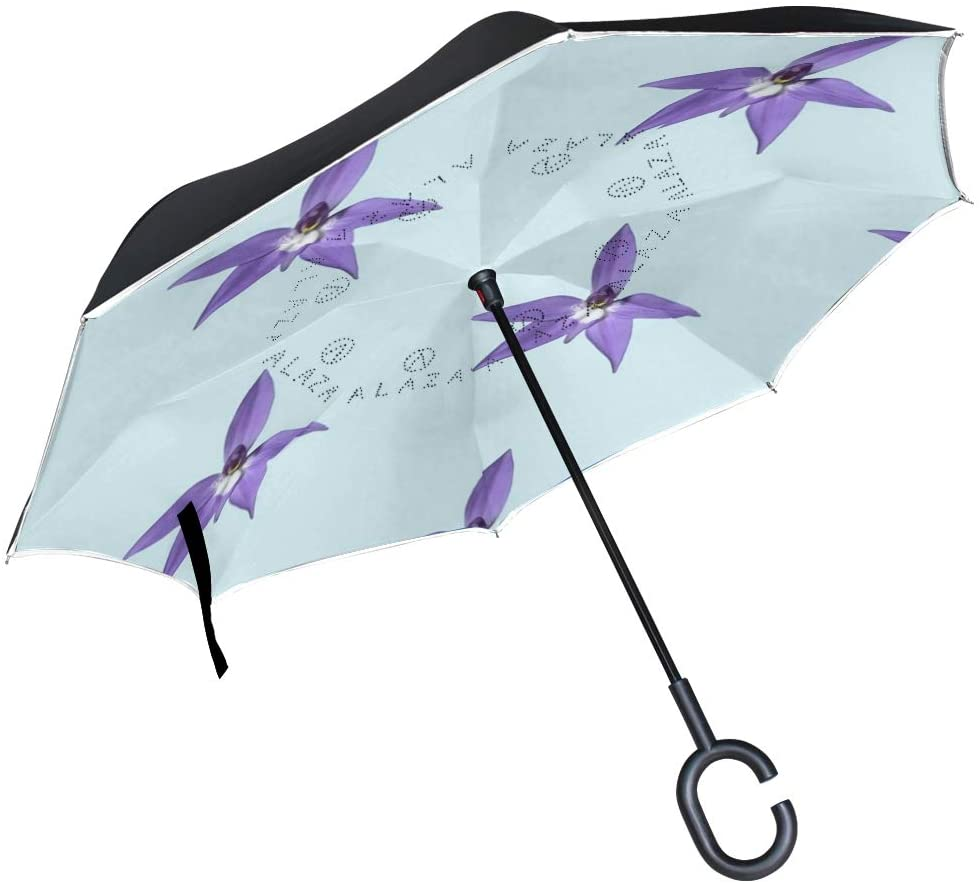 Car Reverse Folding Umbrella Inverted Umbrella with Orchid Flower Pale Blue Print