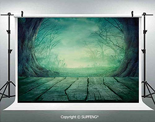 Photography Background Spooky Scary Dark Fog Forest with Dead Trees and Wooden Table Halloween Horror Theme Print 3D Backdrops for Photography Backdrop Photo Background Studio Prop -