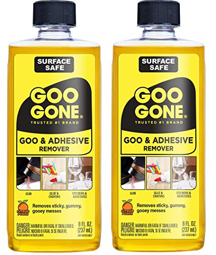 Goo Gone Adhesive Remover - 2 Pack - 8 Ounce - Surface Safe Adhesive Remover Safely Removes Stickers Labels Decals Residue Tape Chewing Gum Grease Tar Crayon Glue