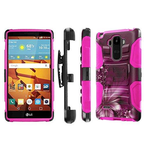 LG G Stylo [LS770 H631] Armor Case [NakedShield] [Black/Pink] Heavy Duty Armor [Holster with Kickstand] Phone Case - [Dream Flower] for LG G Stylo LS770 -  NakedShield for LG G Stylo, P-LGLS770-1E7-BKHP-CBT-N394