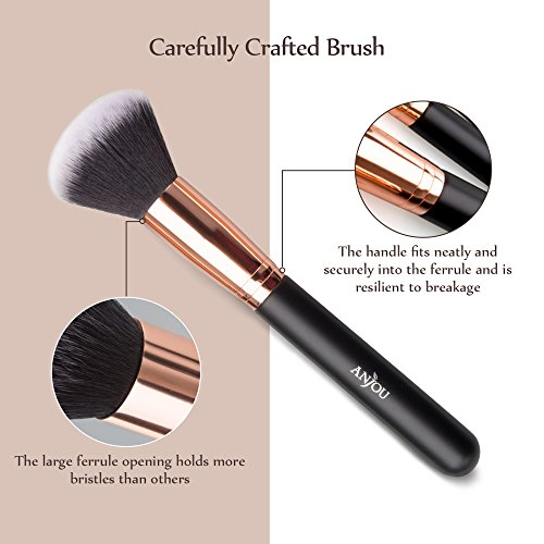 Makeup Brushes Set, Anjou 8pcs Synthetic Makeup Brush for Foundation Blush Contour Concealer Eyeliner Eye Shadow, Rose Gold Design, Waterproof Bag Included