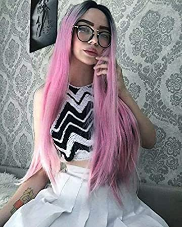 Women long Straight Pink Wig Ombre Synthetic Wig Baby Pink Lace Wig Dark  Roots 2 Tones f92a01f935