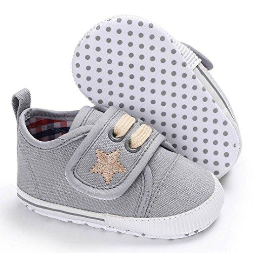 Baumwolle Boots Schuhe Jamicy® Neugeborenen Baumwolle Baby Mädchen Jungen Kinderbett Leinwand Schuhe Weiche Sohle rutschfeste Turnschuhe 6 ~ 18 Monate Grau