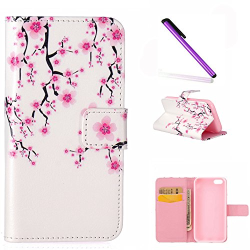 iPhone 5C Wallet Case EMAXELER 3D Creative Relief Fantastic Romantic Colorful Cute Commuter Magnetic Closure PU Leather Flip Protective Cover with Stand for iPhone 5C Christmas Cherry Blossoms (Colorful Cases Iphone 5c)