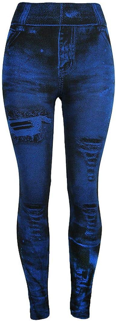 Womens Yoga Leggings Denim Print Fake Jeans Seamless Leggings Jean Look Jeggings Tights Workout Running Pants