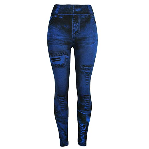 42acccb8eb iCJJL Women's High Waist Tummy Control Fake Ripped Jean Leggings Seamless  Stretchy Workout Fitness Running Yoga