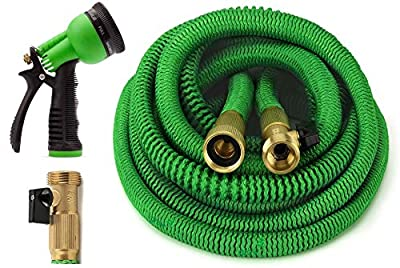 ALL NEW 2017 Garden Hose Expandable Hose With All Brass Connectors, 8 Pattern Spray Nozzle And High Pressure, {IMPROVED} Expanding Garden Hose