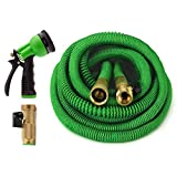 ALL NEW 2017 Expandable Garden Hose 75 Feet with 8 Spray Pattern Nozzle. Strongest Expanding Garden Hose on the Market with Triple Layer Latex Core & Latest Improved Extra Strength Fabric Protection.