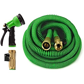 all new 2017 garden hose 50 feet expandable hose with all brass connectors 8 pattern - Garden Hose
