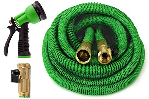 ALL NEW 2017 Garden Hose 50 Feet Expandable Hose With All Brass Connectors, 8 Pattern Spray And High Pressure, {IMPROVED} Expanding Garden (Extendable Hose)