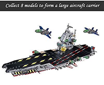 Erencook Aircraft Carrier Playset Assembling 8 in 1 Military Building Blocks Army Battleship Model Educational Toys Gift for Kids(725pcs)