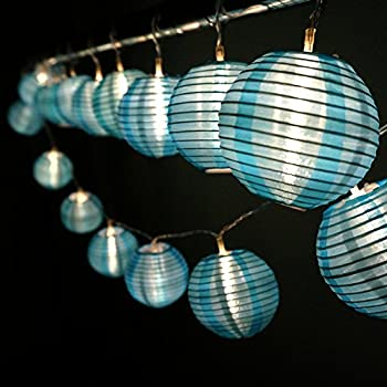 HQOON Globe String Lights with Mini Nylon Lantern, LED Fairy Decorative Lights, 3 AA Battery Operated (not included), 2 Lighting Modes, 10ft/3m, 20 Led Bulbs and Lanterns Ideal for Indoor and Outdoor