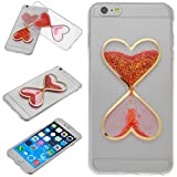 "Yerwal Luminous iPhone 6Plus/6sPlus 5.5"" Case Glow in the Dark Luminous Heart-shaped Quicksand Clock Hourglass Timer Soft TPU Case Clear Cover For iPhone 6Plus/6sPlus 5.5""-Red"