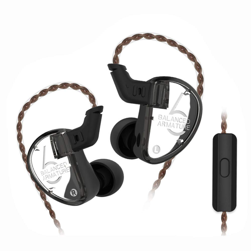 KZ AS06 3BA in Ear Earphones Yinyoo KZ HI-FI IEM Headphones Wired Noise Isolating Earbuds with Triple Balanced Armature Drivers Microphones 3.5mm Plug Cable Black with mic