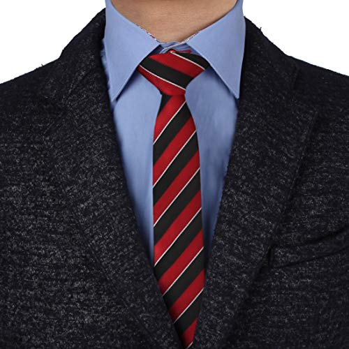Epoint EAEF0037 Red Black Striped Checkered Microfiber Slim Ties Various Series Pink Blue Tie